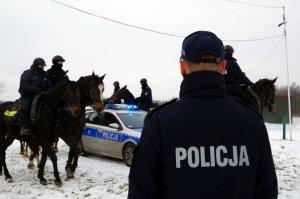 kierownik ogniwa konnego tyłem do fotografującego patrzy w kierunku policyjnych wierzchowców, które chodzą dookoła radiowozu